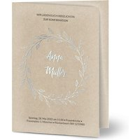 Einladungskarten Konfirmation Eigener Weg, seidenmattes feinstpapier, standard umschläge, silberfolie gestalten, A5, klappkarte, Optimalprint