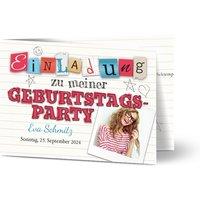 Einladungskarten Geburtstag, glänzendes feinstpapier, standard umschläge gestalten, Fotokarte (1 Foto), age 18, age 21, A6, klappkarte, Optimalprint