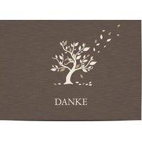 Danksagungskarten Trauer, glänzendes feinstpapier, standard umschläge gestalten, Kein Foto, Baum, braun, A6, flach, Optimalprint