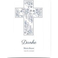 Dankeskarte Trauer Reise der Seele, glänzendes feinstpapier, standard umschläge gestalten, Kreuz, elegant, weiblich, weiß, A5, flach, Optimalprint
