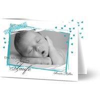 Einladungskarte Taufe, glänzendes feinstpapier, standard umschläge gestalten, Fotokarte (1 Foto), washi tape, Junge, A6, klappkarte, Optimalprint