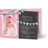 Einladungskarten Geburtstag, glänzendes feinstpapier, standard umschläge gestalten, Fotokarte (1 Foto), Wimpel, A6, klappkarte, Optimalprint