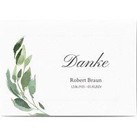 Dankeskarte Trauer Stiller Abschied, glänzendes feinstpapier, standard umschläge gestalten, Beerdigung, Blätter, männlich, A5, flach, Optimalprint