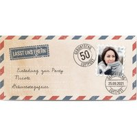 Einladungskarten Geburtstag, glänzendes feinstpapier, standard umschläge gestalten, Fotokarte (1 Foto), 50, Panorama DL, flach, Optimalprint