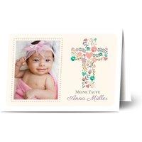 Einladungskarten Taufe, glänzendes feinstpapier, standard umschläge gestalten, Fotokarte (1 Foto), Blätter, Mädchen, A6, klappkarte, Optimalprint