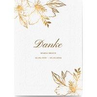 Dankeskarte Trauer schlafende Blume, glänzendes feinstpapier, standard umschläge gestalten, blumig, Blume, Blätter, Gold, A5, flach, Optimalprint