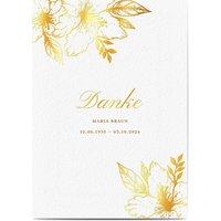 Dankeskarte Trauer schlafende Blume, seidenmattes feinstpapier, standard umschläge, goldfolie gestalten, blumig, Blume, A5, flach, Optimalprint