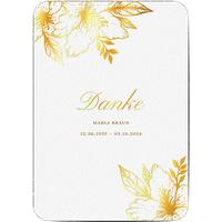 Dankeskarte Trauer schlafende Blume, seidenmattes feinstpapier, standard umschläge, goldfolie, abgerundete ecken gestalten, A5, flach, Optimalprint