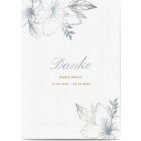 Dankeskarte Trauer schlafende Blume, seidenmattes feinstpapier, standard umschläge, silberfolie gestalten, blumig, Blume, A5, flach, Optimalprint