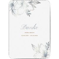 Dankeskarte Trauer schlafende Blume, seidenmattes feinstpapier, standard umschläge, silberfolie, abgerundete ecken gestalten, A5, flach, Optimalprint