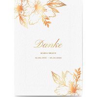 Dankeskarte Trauer schlafende Blume, seidenmattes feinstpapier, standard umschläge, kupferfolie gestalten, blumig, Blume, A5, flach, Optimalprint