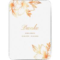 Dankeskarte Trauer schlafende Blume, seidenmattes feinstpapier, standard umschläge, kupferfolie, abgerundete ecken gestalten, A5, flach, Optimalprint