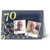 Einladungskarten Geburtstag, seidenmattes feinstpapier, standard umschläge, goldfolie gestalten, 3 Fotos, 70, A6, klappkarte, Optimalprint