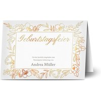 Einladungskarten Geburtstag, seidenmattes feinstpapier, standard umschläge, kupferfolie gestalten, Fotokarte (1 Foto), A6, klappkarte, Optimalprint