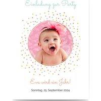 Einladungskarten Geburtstag, glänzendes feinstpapier, standard umschläge gestalten, Fotokarte (1 Foto), Konfetti, gepunktet, A6, flach, Optimalprint