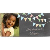 Einladungskarten Geburtstag, glänzendes feinstpapier, standard umschläge gestalten, Fotokarte (1 Foto), Wimpel, Panorama DL, flach, Optimalprint