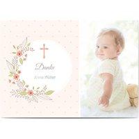 Danksagungskarten Taufe, Dankeskarten Taufe, seidenmattes feinstpapier, standard umschläge, silberfolie gestalten, Fotokarte, A6, flach, Optimalprint