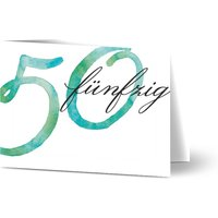 Einladung Geburtstag Aquarell 50, glänzendes feinstpapier, standard umschläge gestalten, Fotokarte (1 Foto), 50, A6, klappkarte, Optimalprint