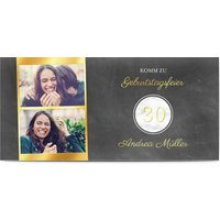 Einladungskarten Geburtstag, seidenmattes feinstpapier, standard umschläge, goldfolie gestalten, 2 Fotos, 30, grau, Panorama DL, flach, Optimalprint