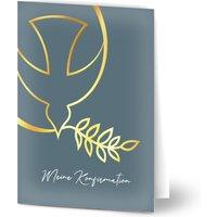 Einladungskarten Konfirmation Wegweisend, seidenmattes feinstpapier, standard umschläge, goldfolie gestalten, Taube, A6, klappkarte, Optimalprint