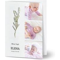 Einladungskarten Taufe, glänzendes feinstpapier, standard umschläge gestalten, 4 Fotos (Fotocollage), blumig, foliage, A6, klappkarte, Optimalprint