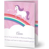 Einladungskarten Geburtstag, glänzendes feinstpapier, standard umschläge gestalten, Fotokarte (1 Foto), Einhorn, A5, klappkarte, Optimalprint