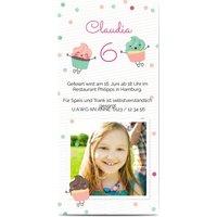 Einladungskarten Geburtstag, glänzendes feinstpapier, standard umschläge gestalten, Fotokarte (1 Foto), Torte, Panorama DL, flach, Optimalprint