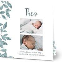 Einladungskarten Taufe, glänzendes feinstpapier, standard umschläge gestalten, 3 Fotos, foliage, Blätter, quadratisch, klappkarte, Optimalprint