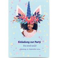 Einladungskarten Geburtstag, glänzendes feinstpapier, standard umschläge gestalten, Fotokarte (1 Foto), Blumen, Einhorn, A6, flach, Optimalprint