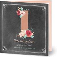 Einladungskarten Geburtstag, glänzendes feinstpapier, standard umschläge gestalten, Fotokarte (1 Foto), age 1, quadratisch, klappkarte, Optimalprint
