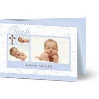 Einladungskarten Taufe, glänzendes feinstpapier, standard umschläge gestalten, 3 Fotos, Junge, blau, Klassisch, A6, klappkarte, Optimalprint