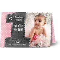 Einladungskarten Geburtstag, glänzendes feinstpapier, standard umschläge gestalten, Fotokarte (1 Foto), age 1, A5, klappkarte, Optimalprint