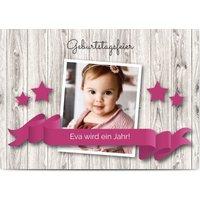 Einladungskarten Geburtstag, glänzendes feinstpapier, standard umschläge gestalten, Fotokarte (1 Foto), Band, Sterne, Holz, A6, flach, Optimalprint
