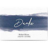 Dankeskarte Trauer Schatten, glänzendes feinstpapier, standard umschläge gestalten, Beerdigung, männlich, Aquarell, blau, A5, flach, Optimalprint