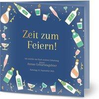 Einladungskarten Geburtstag, seidenmattes feinstpapier, standard umschläge, goldfolie gestalten, Fotokarte (1, quadratisch, klappkarte, Optimalprint