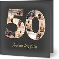 Einladungskarten Geburtstag, seidenmattes feinstpapier, standard umschläge, goldfolie gestalten, 10 Fotos, quadratisch, klappkarte, Optimalprint