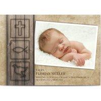 Einladungskarten Taufe, glänzendes feinstpapier, standard umschläge gestalten, Fotokarte (1 Foto), Symbole, Holz, Junge, A6, flach, Optimalprint