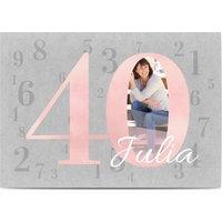 Einladungskarten Geburtstag, glänzendes feinstpapier, standard umschläge gestalten, Fotokarte (1 Foto), 40, Bastelpapier, A6, flach, Optimalprint