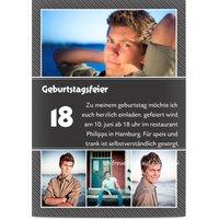 Einladungskarten Geburtstag, glänzendes feinstpapier, standard umschläge gestalten, 4 Fotos (Fotocollage), age 18, 18., A5, flach, Optimalprint