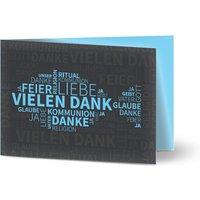 Dankeskarten Kommunion, glänzendes feinstpapier, standard umschläge gestalten, Fotokarte (1 Foto), Fisch, Junge, A6, klappkarte, Optimalprint