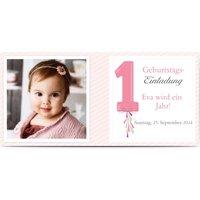 Einladungskarten Geburtstag, glänzendes feinstpapier, standard umschläge gestalten, Fotokarte (1 Foto), age 1, Panorama DL, flach, Optimalprint