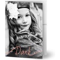 Dankeskarten Kommunion, glänzendes feinstpapier, standard umschläge gestalten, 2 Fotos, grün, rosa, kreativ, modern, A6, klappkarte, Optimalprint