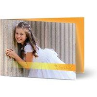 Dankeskarten Kommunion, seidenmattes feinstpapier, standard umschläge, goldfolie gestalten, 2 Fotos, Junge, Mädchen, A6, klappkarte, Optimalprint
