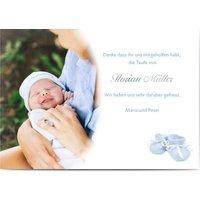 Dankeskarten Taufe, seidenmattes feinstpapier, standard umschläge, silberfolie gestalten, Fotokarte (1 Foto), Babyschuh, A6, flach, Optimalprint