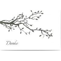 Trauerkarten Danke, glänzendes feinstpapier, standard umschläge gestalten, Zweig, Baum, weiß, modern, A6, flach, Optimalprint