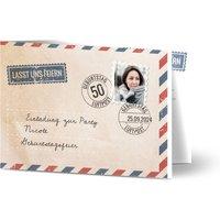 Einladungskarten Geburtstag, glänzendes feinstpapier, standard umschläge gestalten, 2 Fotos, 50, Airmail, Briefmarke, A6, klappkarte, Optimalprint