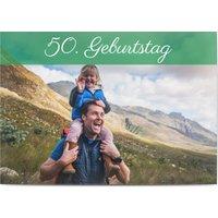 Einladungskarten Geburtstag, glänzendes feinstpapier, standard umschläge gestalten, Fotokarte (1 Foto), 50, 50s, braun, A5, flach, Optimalprint