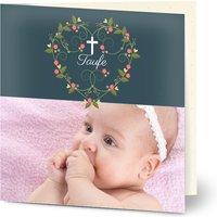 Einladungskarten Taufe, glänzendes feinstpapier, standard umschläge gestalten, Fotokarte (1 Foto), Mädchen, quadratisch, klappkarte, Optimalprint