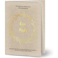 Einladungskarten Konfirmation Eigener Weg, seidenmattes feinstpapier, standard umschläge, goldfolie gestalten, A6, klappkarte, Optimalprint