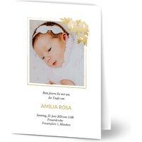 Einladungskarten Taufe, glänzendes feinstpapier, standard umschläge gestalten, Fotokarte (1 Foto), blumenbedruckt, A6, klappkarte, Optimalprint